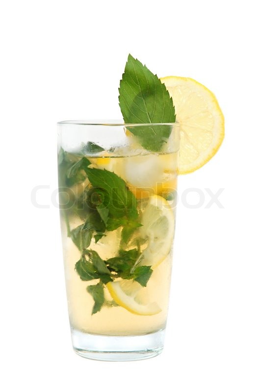 Mojito cocktail or iced tea with lemon, mint leaves and ...