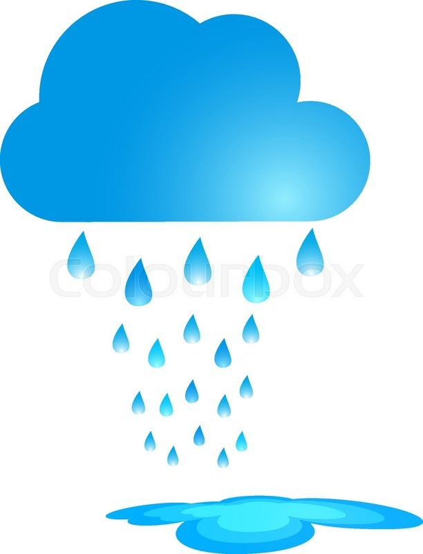 Blue Rain Cloud Vector Illustration. Rain and puddle ...