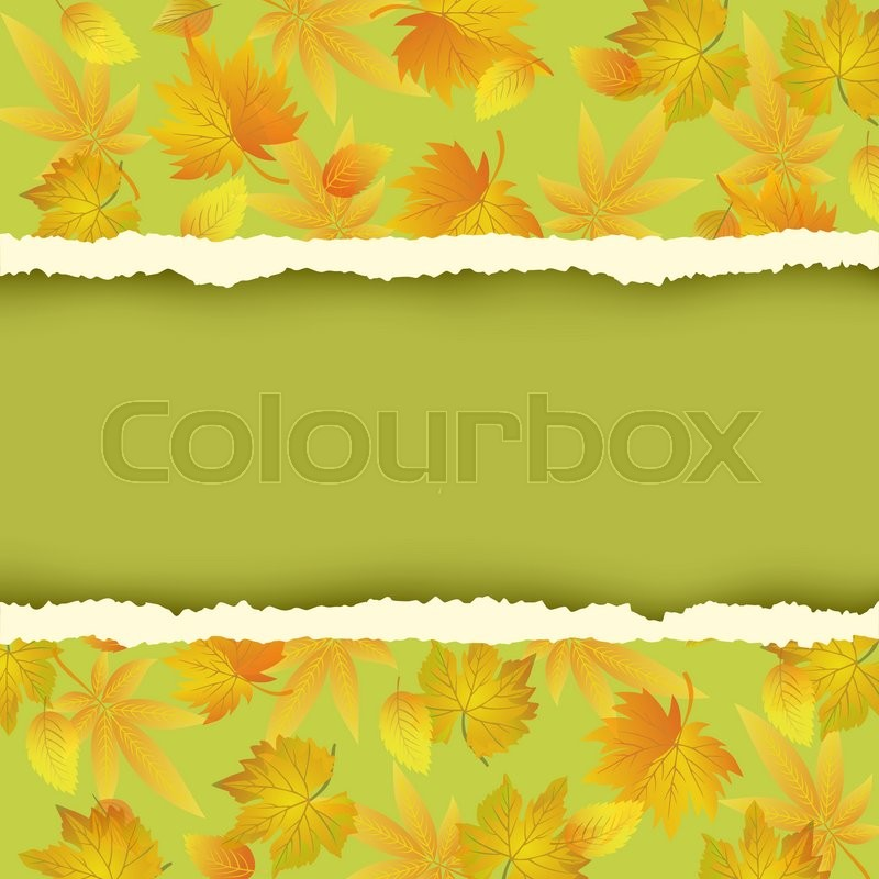 Beautiful Green Autumn Background With Colorful Leaves Pattern Wallpaper Yellow Orange Red Leaf Fall And Torn Paper