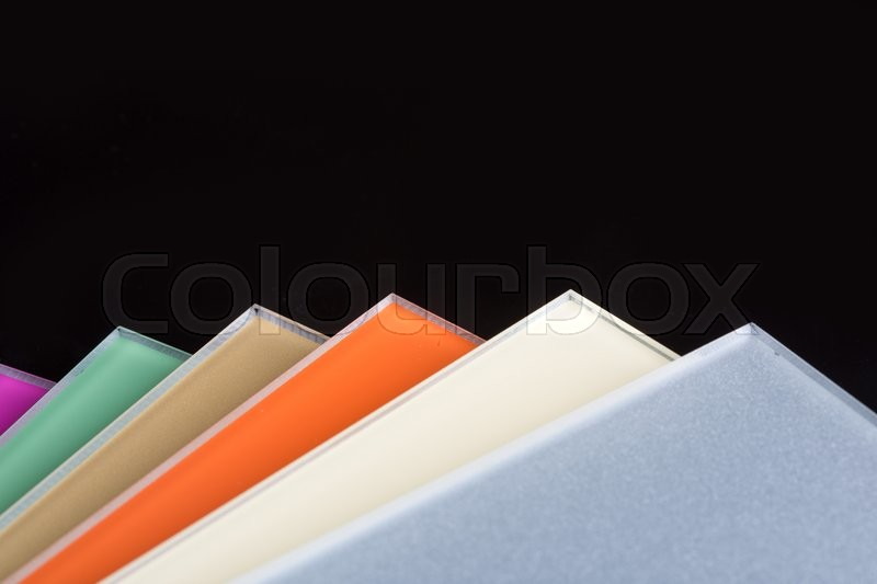 a stack of colored glass on a black background design glass sheets stock photo colourbox - Colored Glass Sheets