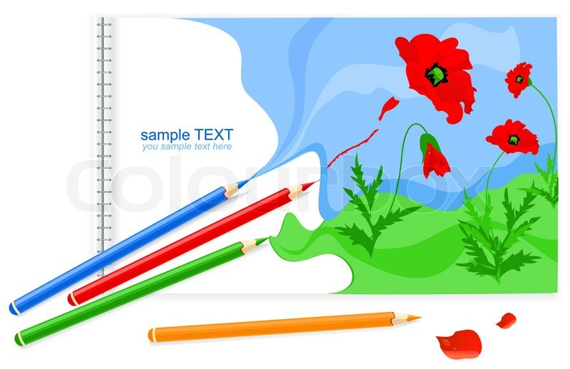 vector drawing book with poppies and pencils