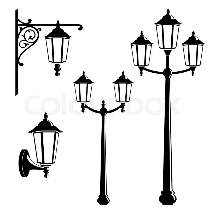 Graphic Vintage Street Lantern Silhouettes Stock Vector