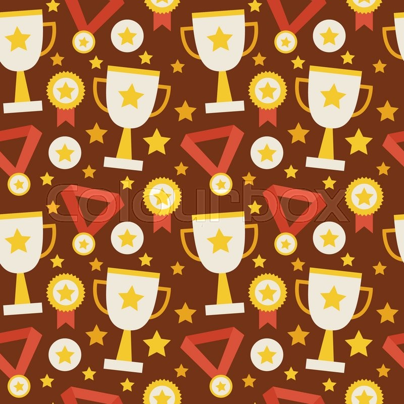 Flat Vector Seamless Pattern Sport Competition Trophy Winning With