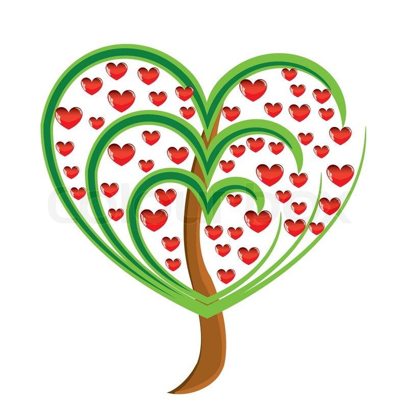 vector apfelbaum mit roten fr chten in form von herzen illustration valentines vektorgrafik. Black Bedroom Furniture Sets. Home Design Ideas