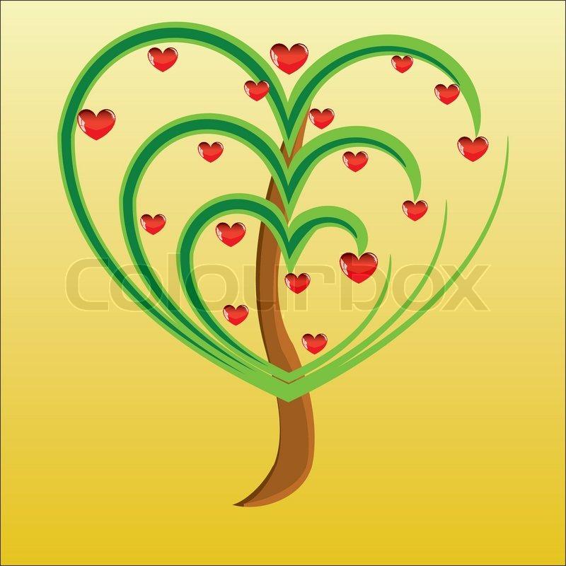 vector apfelbaum mit roten fr chten in form von herzen illustration valentines stock vektor. Black Bedroom Furniture Sets. Home Design Ideas
