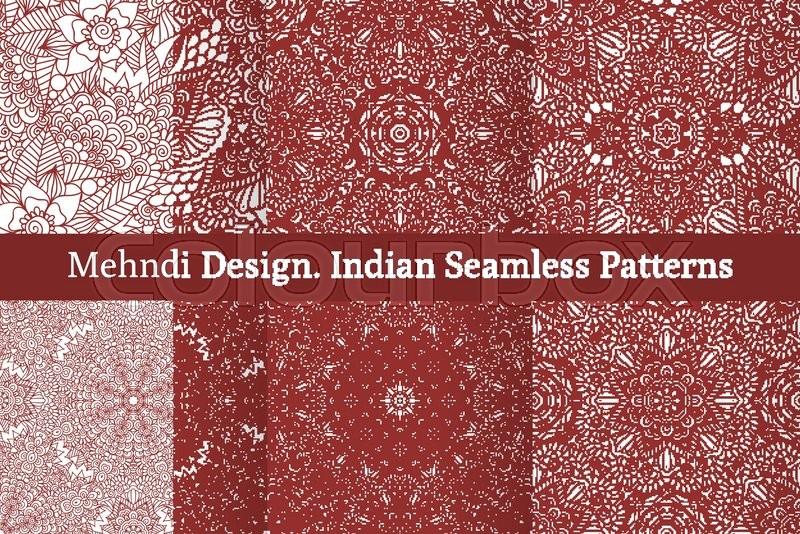 Mehndi Patterns Vector : Set of ethnic seamless patterns in oriental indian style mehndi