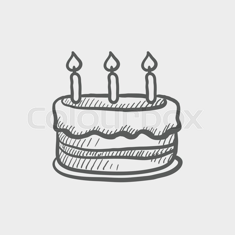 Birthday cake with candles sketch icon for web and mobile ...