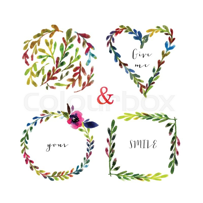 Vector floral frames. Colorful floral frames with leaves and flowers ...