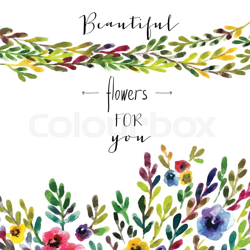 Vector floral card colorful floral banner with leaves and flowers vector floral card colorful floral banner with leaves and flowers drawing watercolor spring or summer design for invitation wedding or greeting cards stopboris Images