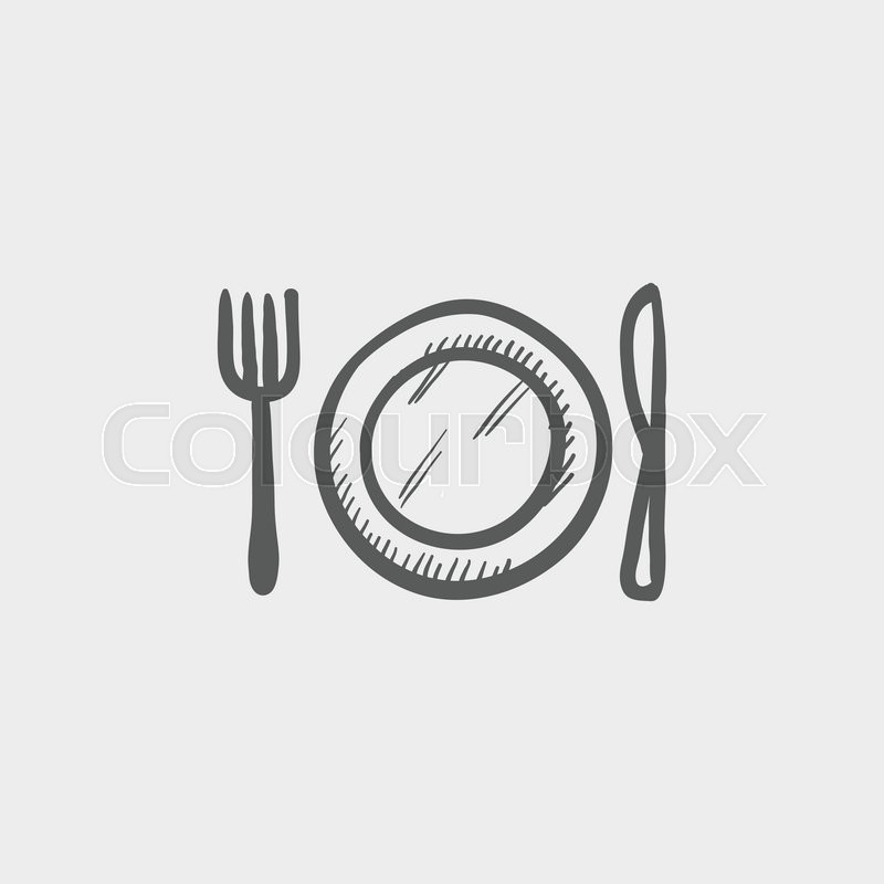 Plate Knife And Fork Sketch Icon For Web And Mobile Hand