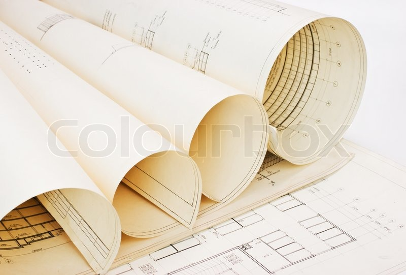 Old Twisted Paper Architectural Drawings Stock Photo