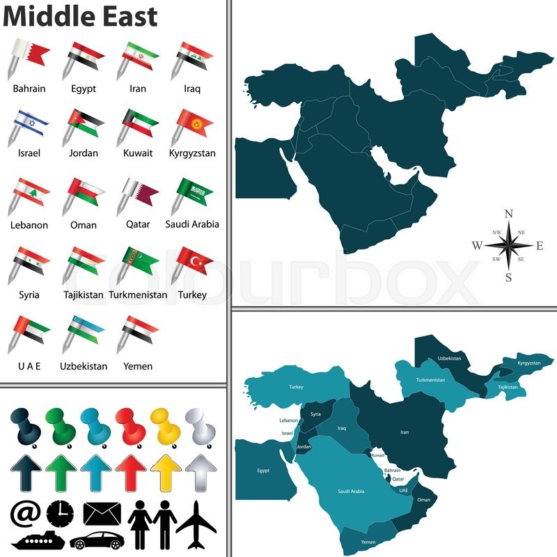 Vector of political map of Middle East     | Stock vector | Colourbox