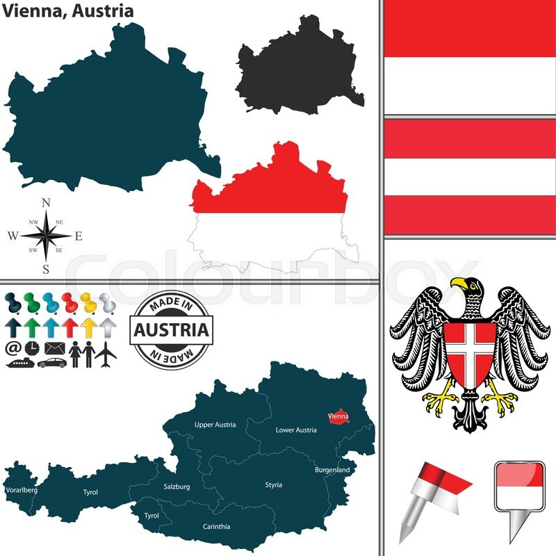 Vector map of state vienna with coat of arms and location on stock vector of vector map of state vienna with coat of arms and location on gumiabroncs Choice Image