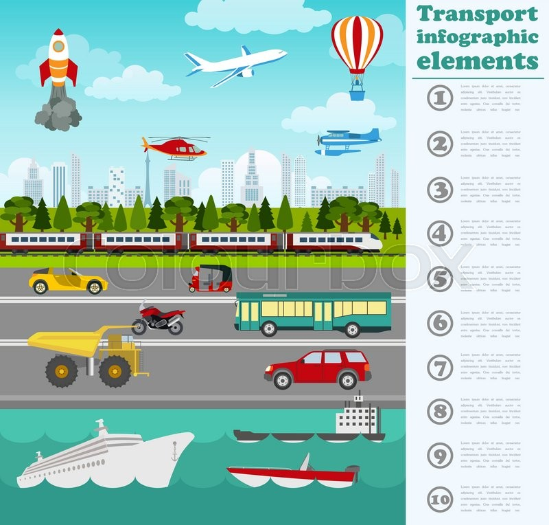 Transport infographics elements. Cars, trucks, public, air, water, railway transportation. Retro styled illustration. Vector, vector