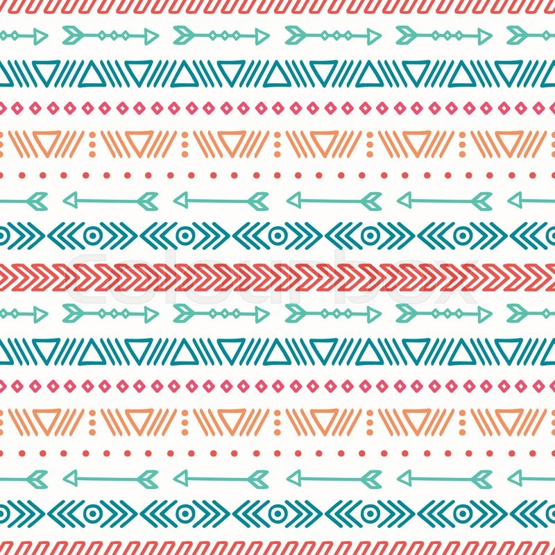 hand drawn geometric ethnic seamless pattern wrapping paper