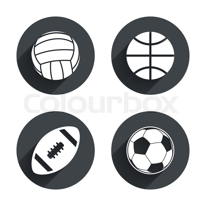Sport balls icons. Volleyball, Basketball, Soccer and American football signs. Team sport games. Circles buttons with long flat shadow. Vector, vector