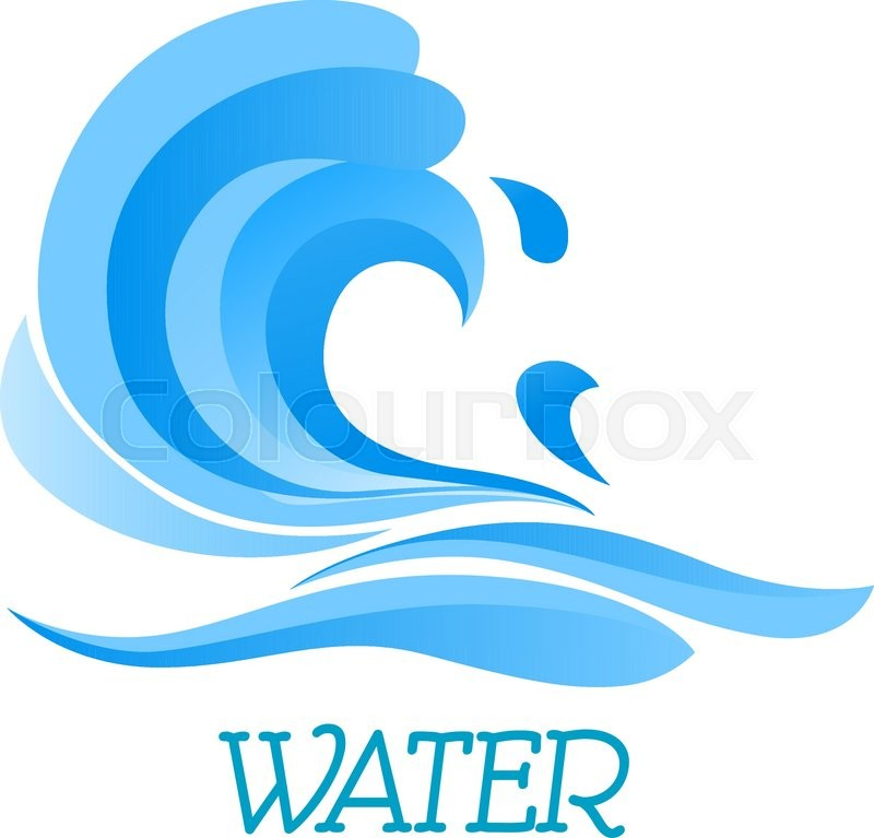 sea wave symbol with billowing blue water curl drops and