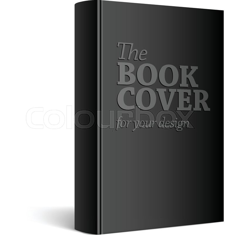 Blank Black Book Cover : Black realistic blank book cover vector illustration