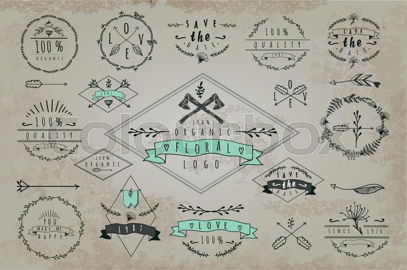 set of vintageframes and labels font design elements and page