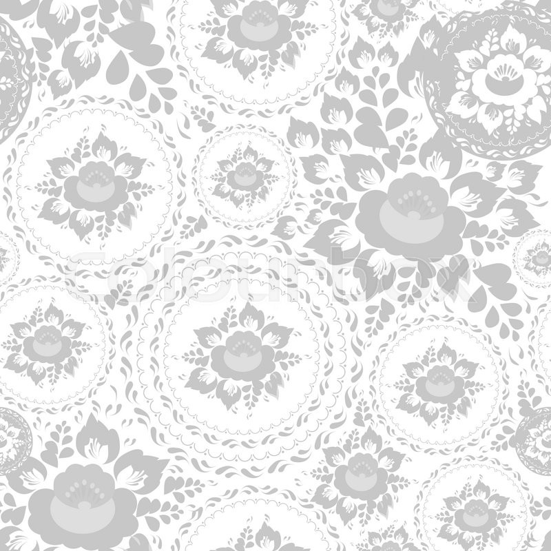 Vintage Shabby Chic Seamless Pattern With Flowers And Leaves Grey On White Background Vector