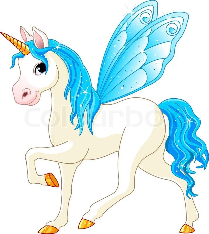 Blue Unicorn And Rainbow Symbol Of Lgbt Community Fantastic Animal