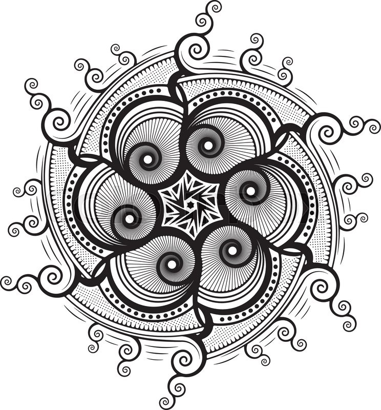 round unusual asymmetrical decorative element lace mandala in zentangle style stylized vector. Black Bedroom Furniture Sets. Home Design Ideas