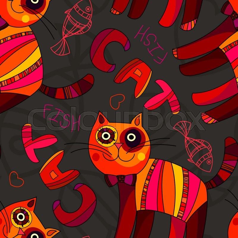 cat wallpaper vector seamless pattern abstract cute cat