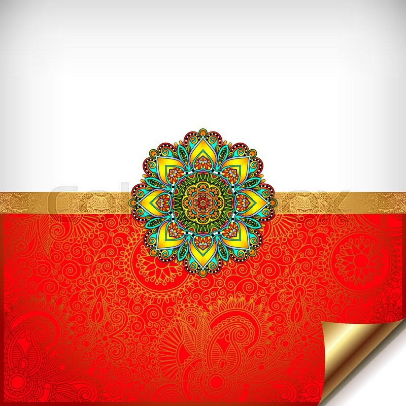 Gold and red happy rakhi greeting card for indian holiday raksha gold and red happy rakhi greeting card for indian holiday raksha bandhan with original ornamental bangle on floral background vector illustration stock m4hsunfo