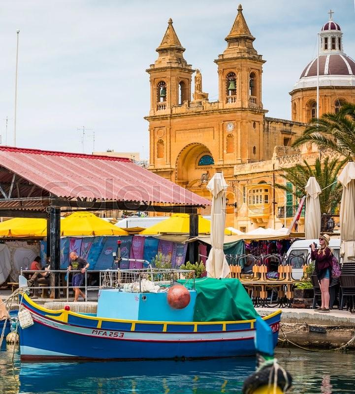 Marsaxlokk malta 24 may 2015 fishing boats luzzu by for Free fishing piers near me