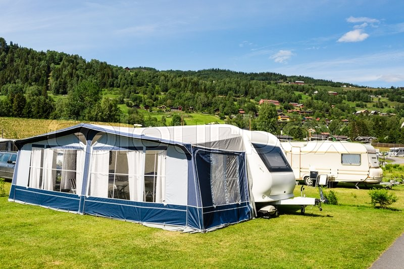 Modern caravan with caravan tent at c&site in Norway on a sunny summer day. | Stock Photo | Colourbox & Modern caravan with caravan tent at campsite in Norway on a sunny ...