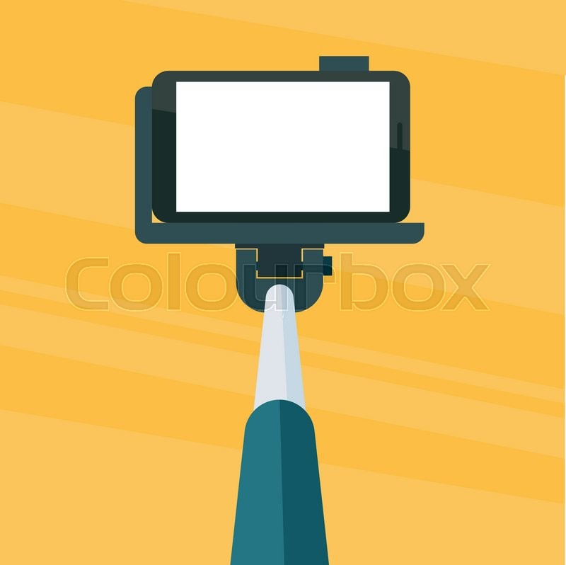 selfie stick monopod with smartphone on yellow abstract background blank scr. Black Bedroom Furniture Sets. Home Design Ideas