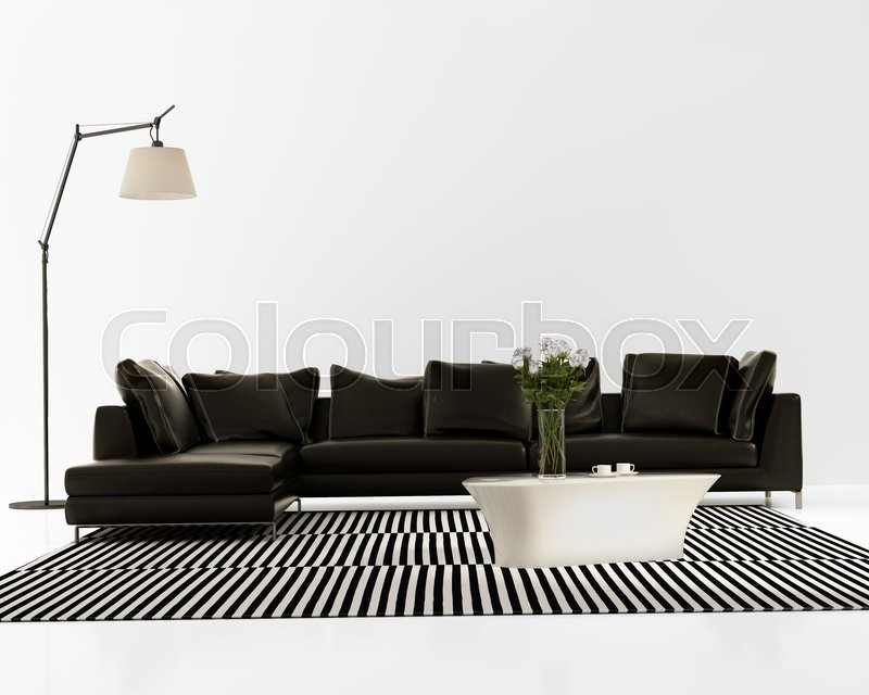3d Rendering Of A Contemporary Minimal Black Leather Sofa With Striped Rug  | Stock Photo | Colourbox