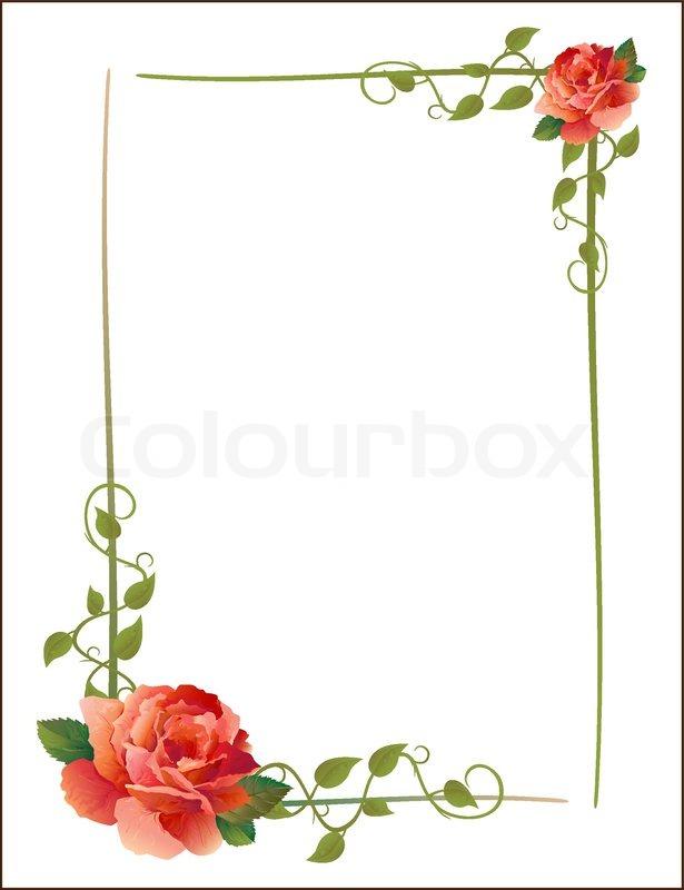 vintage rahmen mit rosen und kriechende pflanze. Black Bedroom Furniture Sets. Home Design Ideas