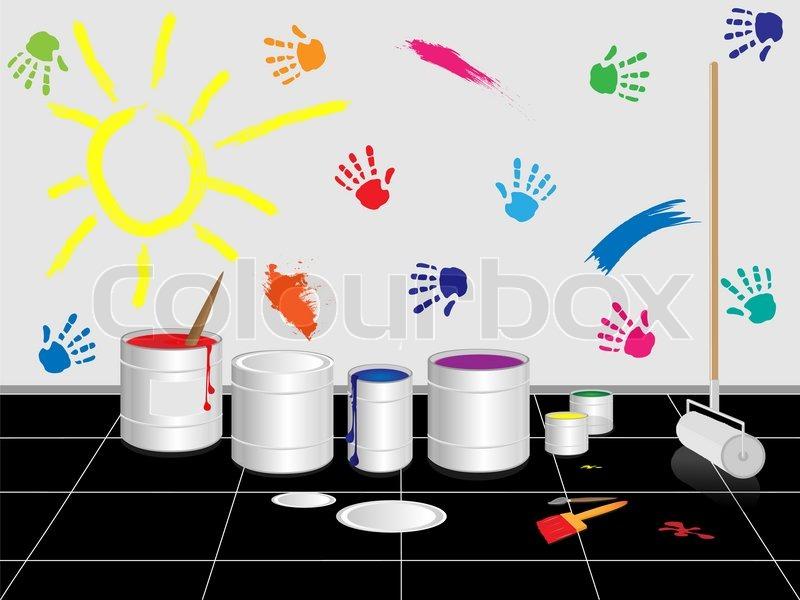 Stock Bild von Kapazitäten mit Malen gegen die Wand verziert