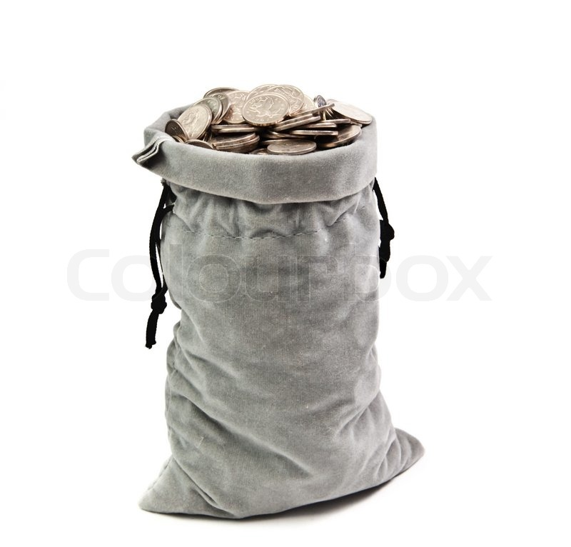a bag full to the brim full of coins stock photo colourbox