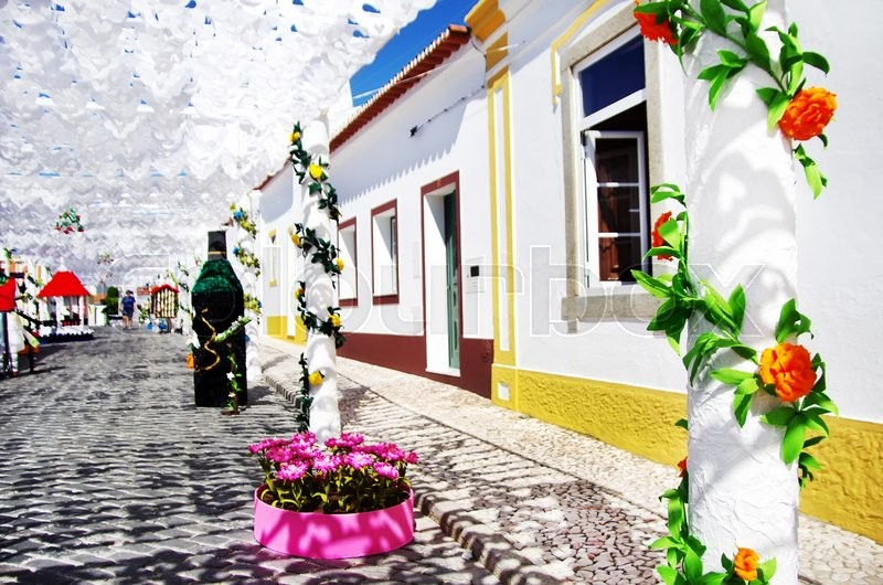 Decorated street, traditional party, Redondo village, stock photo