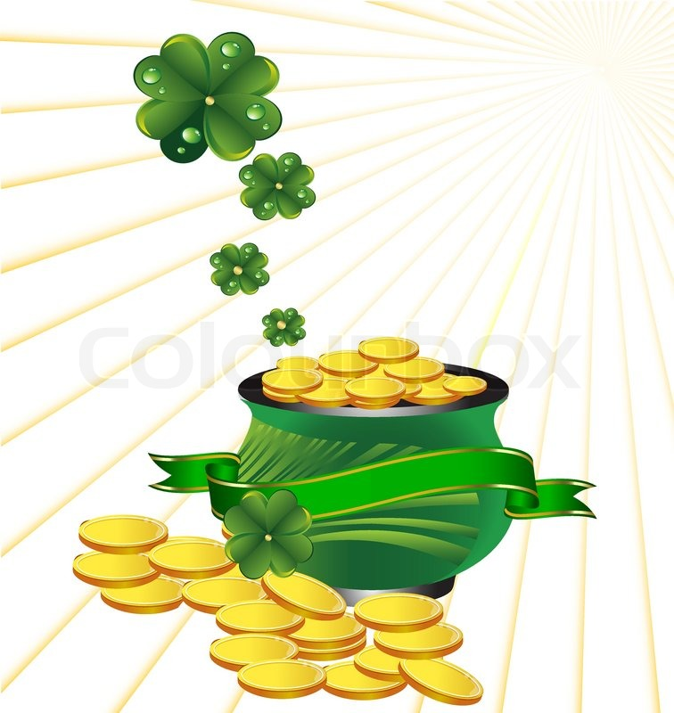 Pot with gold to St. Patrick's Day | Stock Vector | Colourbox