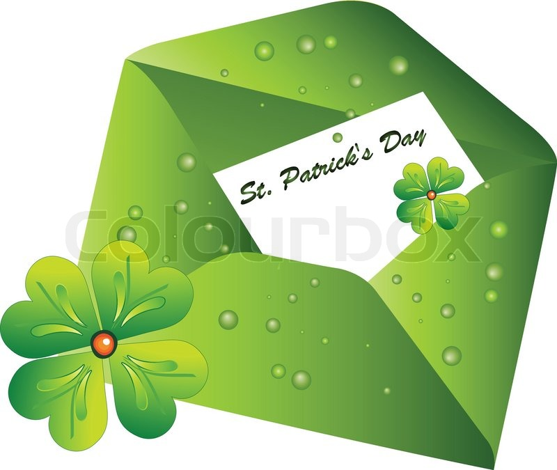 Envelope with the letter st patrick 39 s day stock vector for Irish mail cart plans