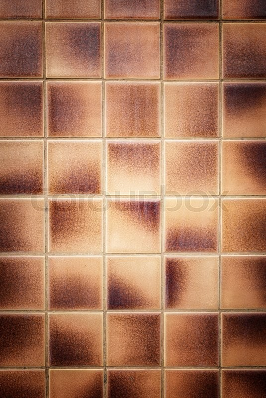 Brown Bathroom Tiles Texture : Close up old pattern brown ceramic bathroom wall tile