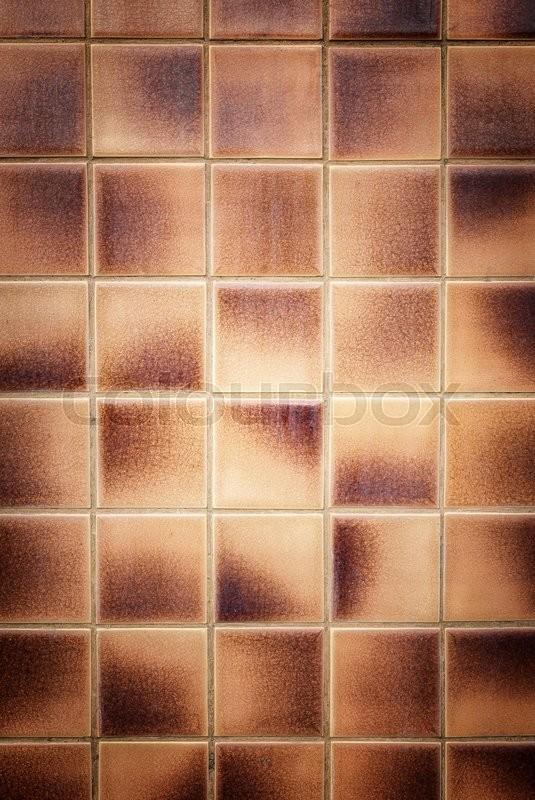 Brown Bathroom Tiles Texture : Close up old pattern brown ceramic bathroom wall tile