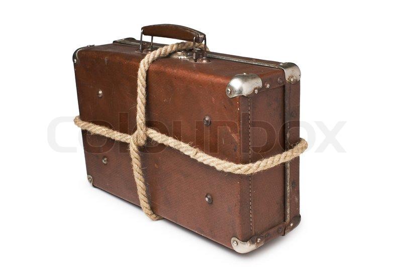 gamle kufferter bundet med reb isoleret p hvid baggrund stock foto colourbox. Black Bedroom Furniture Sets. Home Design Ideas