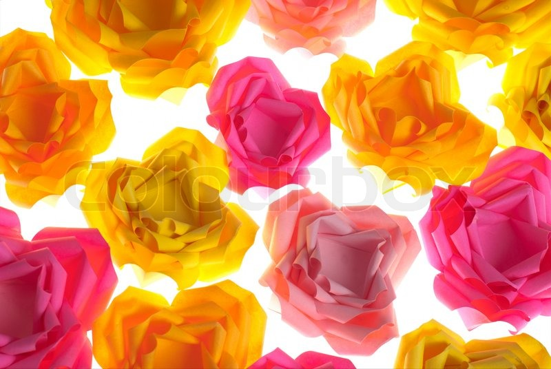 Origami flowers background from pink orange and yellow roses origami flowers background from pink orange and yellow roses isolated on white stock photo colourbox mightylinksfo