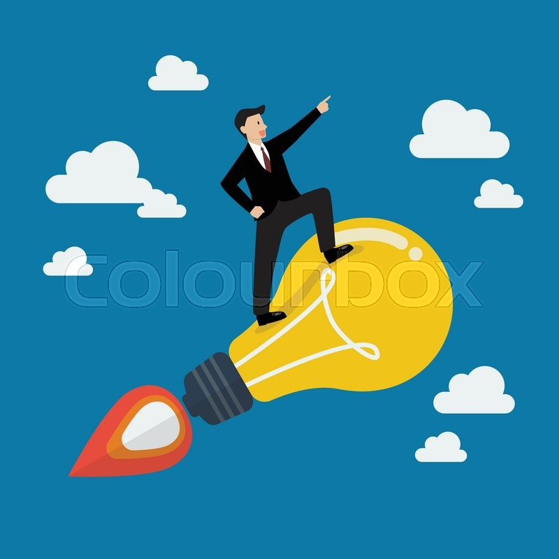 Businessman on a moving lightbulb idea rocket project start up new