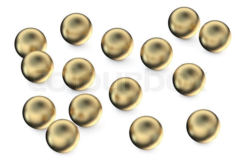 Stock image of 'set of gold spheres isolated on white background'