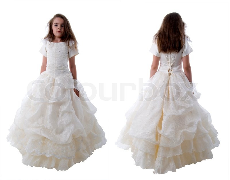 Little Bride Princess. Front And Back View. Isolated On White ...