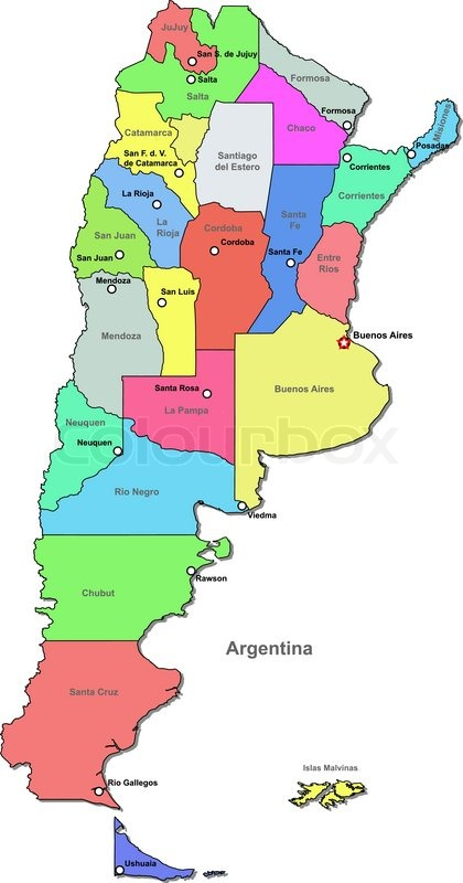 Vector political map of Argentina with regions on a white background