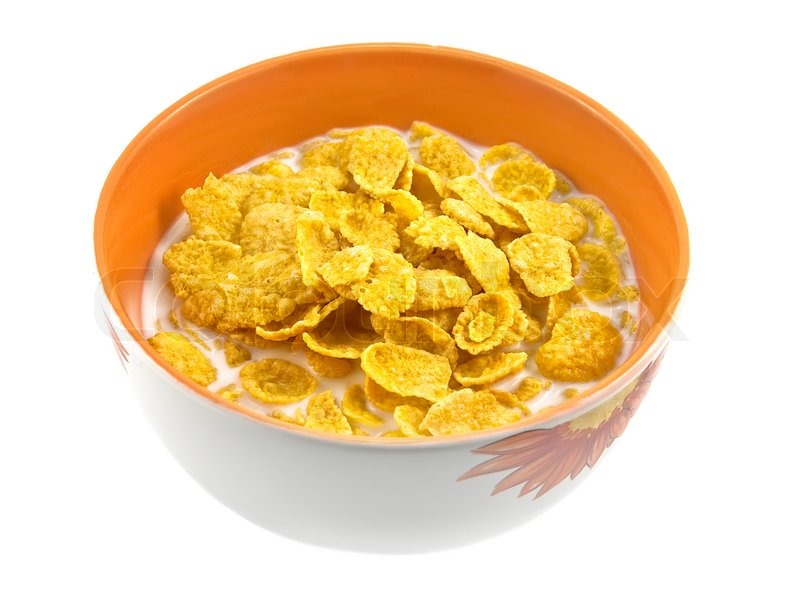 Bowl Of Cornflakes And Milk Bowl with corn ...