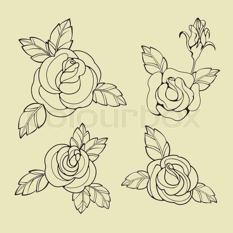 Design Old School Tatto Elements Ink Inking Symbols Stock Vector