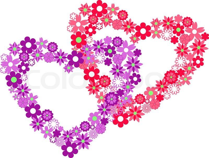 Cartoon Hearts And Flowers