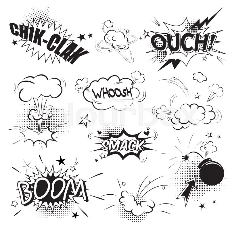comic black speech bubbles in pop art style with boom snap words